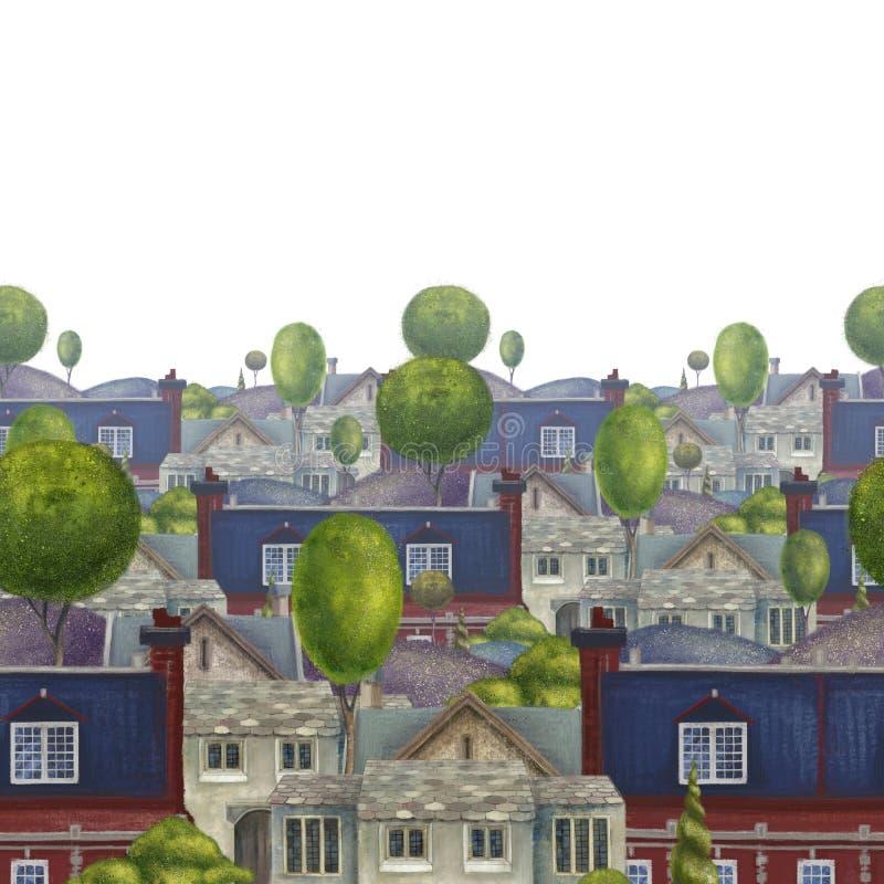 Sömlös modell med tak av hus Gammal sagolik engelsk stad illustration royaltyfri illustrationer