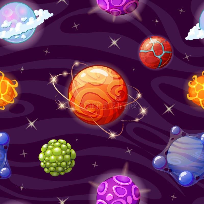 Sömlös modell med tecknad filmfantasiplaneter Natthimmel med massor av stjärnor stock illustrationer