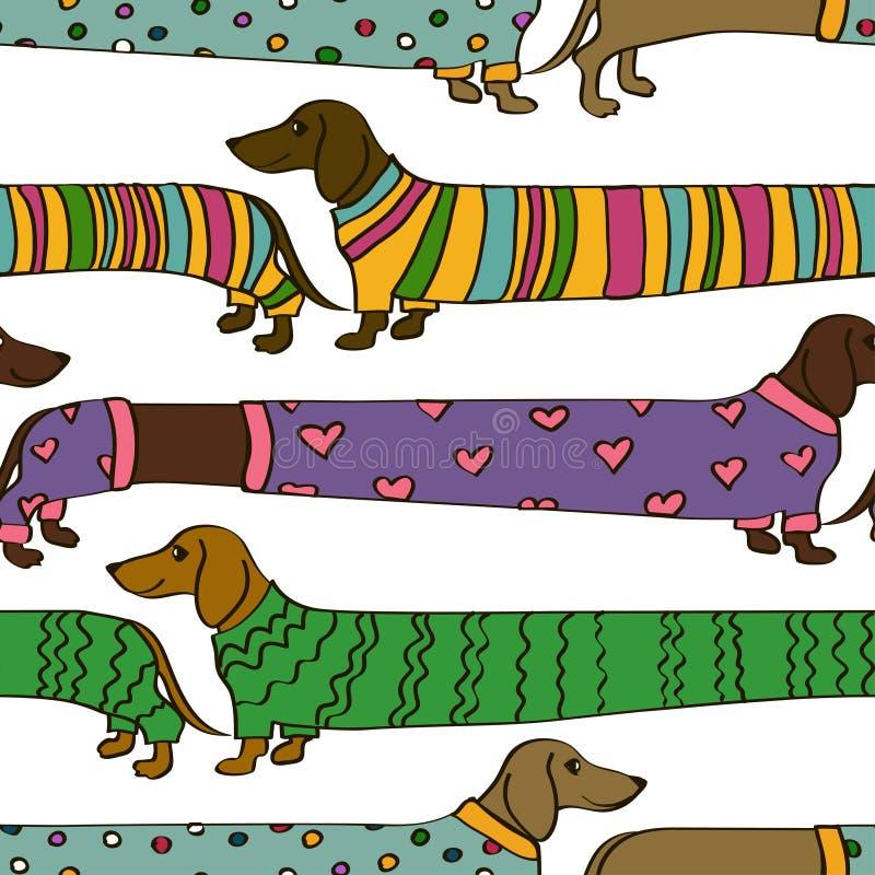 Sömlös modell med tecknad filmtaxhundkapplöpning stock illustrationer