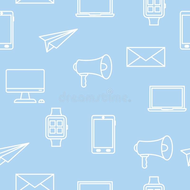 Sömlös modell med teknologisymboler på blått vektor illustrationer