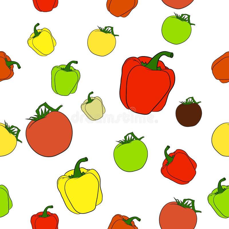 Sömlös modell med tomater och peppar vektor illustrationer