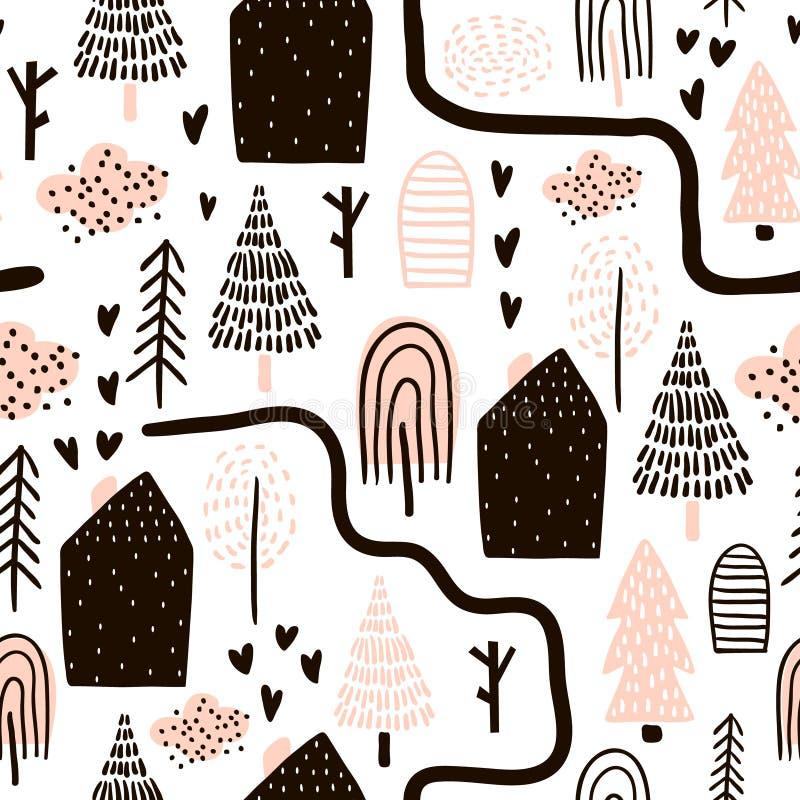 Sömlös modell med träd, hus solljus för oak för skog för design för kant för ekollonhöstbakgrund Barnslig textur för tyg, textil  royaltyfri illustrationer