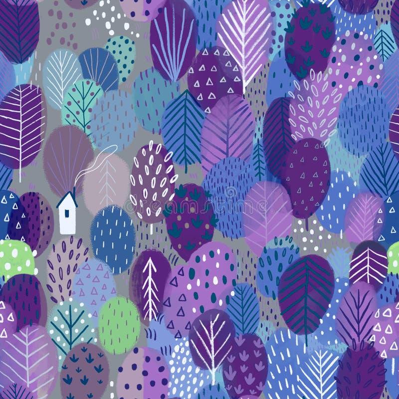 Sömlös modell med träd och huset, violetfärger fotografering för bildbyråer
