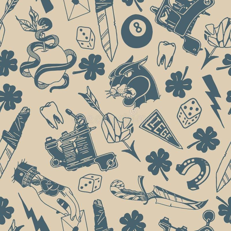 Sömlös modell med traditionella tatueringdesigner: tärning växt av släktet Trifolium, kniv, blixtbult, panter, tatueringmaskin, t vektor illustrationer