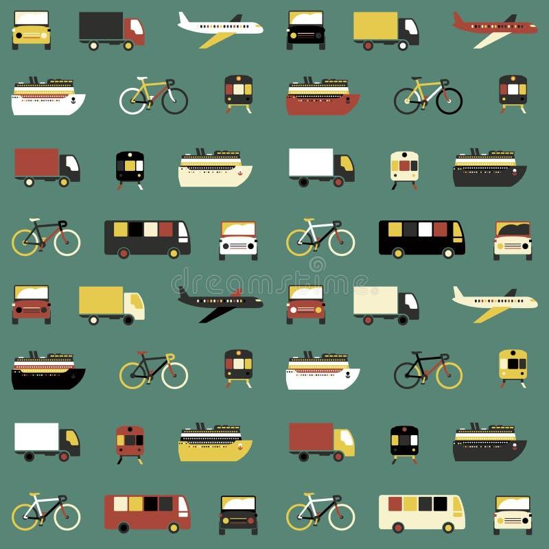 Sömlös modell med transportsymboler vektor illustrationer