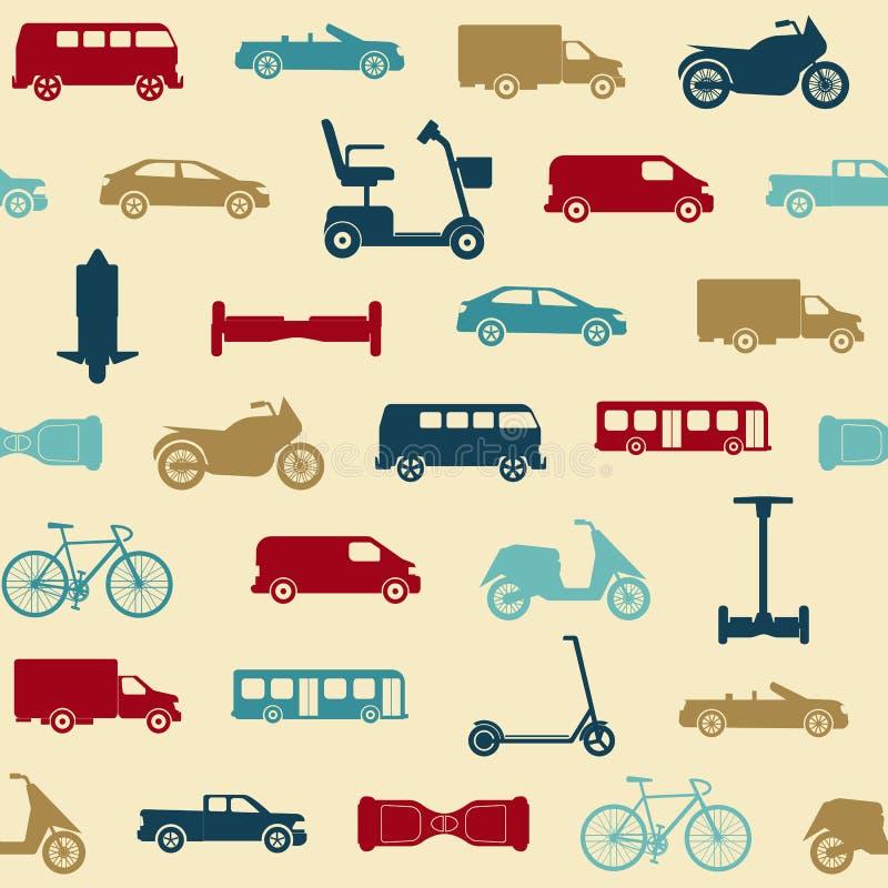 Sömlös modell med transportsymboler royaltyfri illustrationer