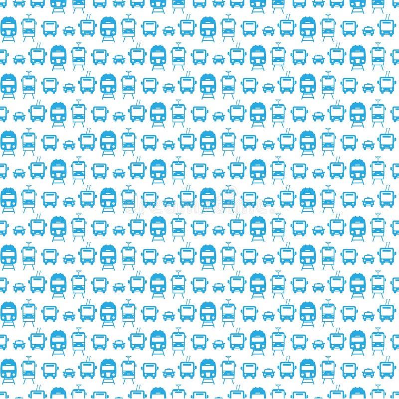 Sömlös modell med transportsymboler: bil spårvagn, trådbuss, tra stock illustrationer