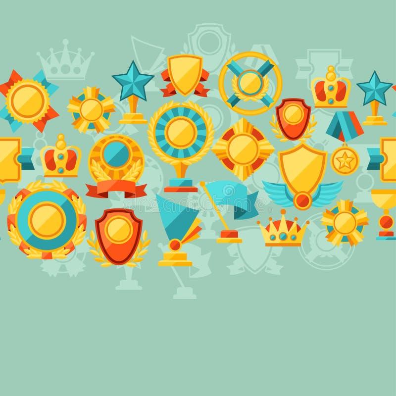 Sömlös modell med trofén och utmärkelser i lägenhet stock illustrationer