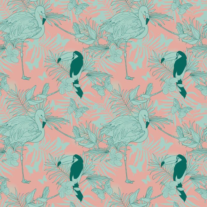Sömlös modell med tropiska fåglar, växter och fjärilar vektor illustrationer