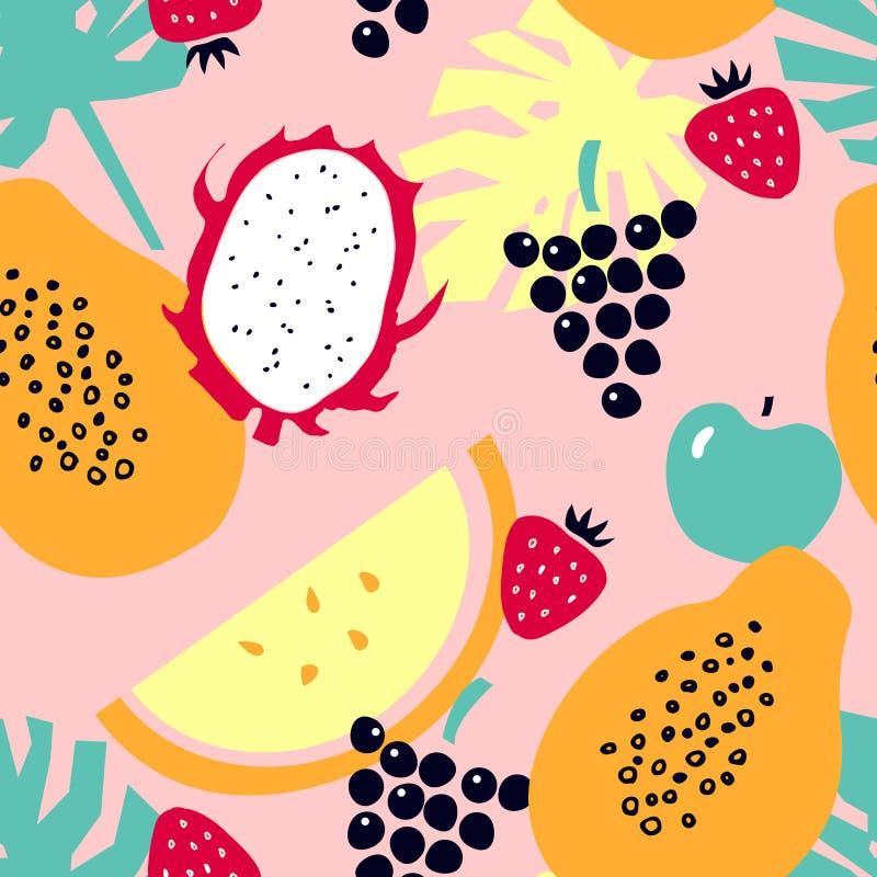 Sömlös modell med tropiska frukter - melon; drakefrukt; papaya; jordgubbe; äpple; druvor vektor illustrationer
