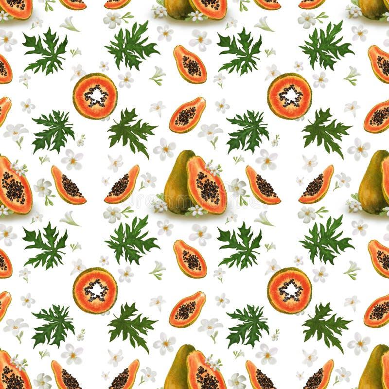 Sömlös modell med tropiska frukter, sidor och blommor Exotisk frukt f?r Papaya Bakgrund för textil, modetextur, wallpape stock illustrationer