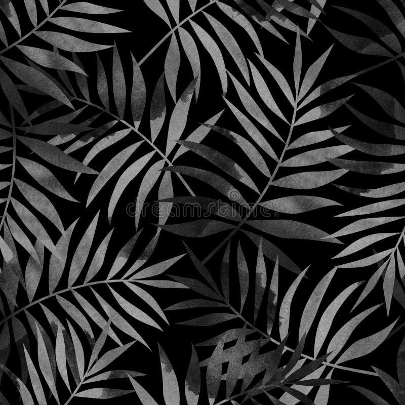 Sömlös modell med tropiska palmblad på svart bakgrund Stilfull illustration royaltyfri illustrationer