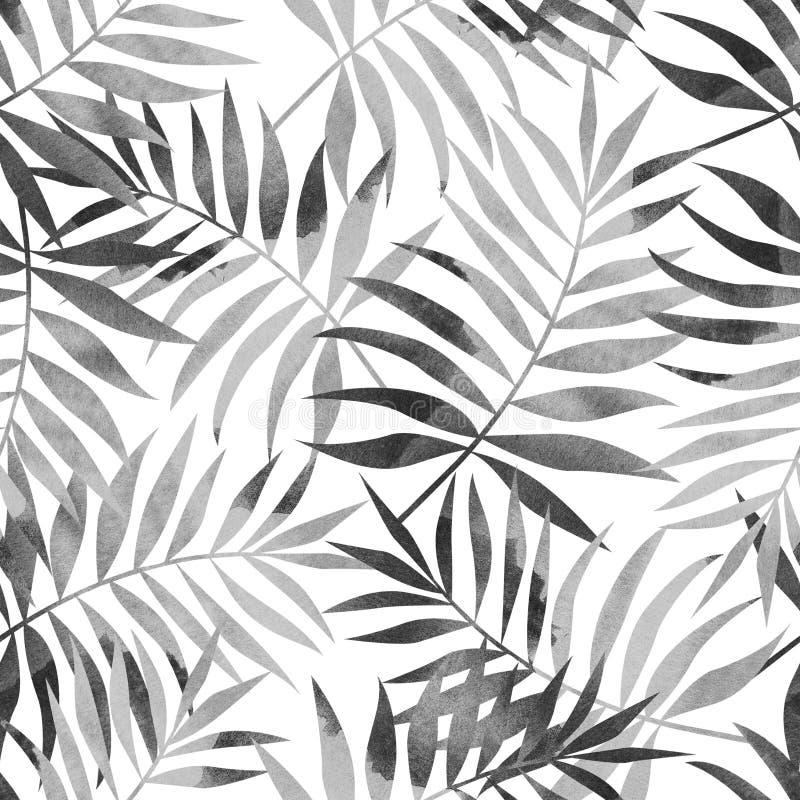 Sömlös modell med tropiska palmblad på vit bakgrund Stilfull illustration vektor illustrationer