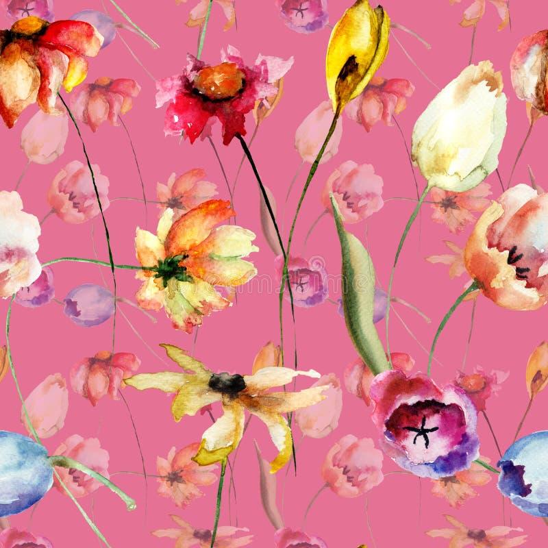 Sömlös modell med tulpan- och Gerber blommor stock illustrationer