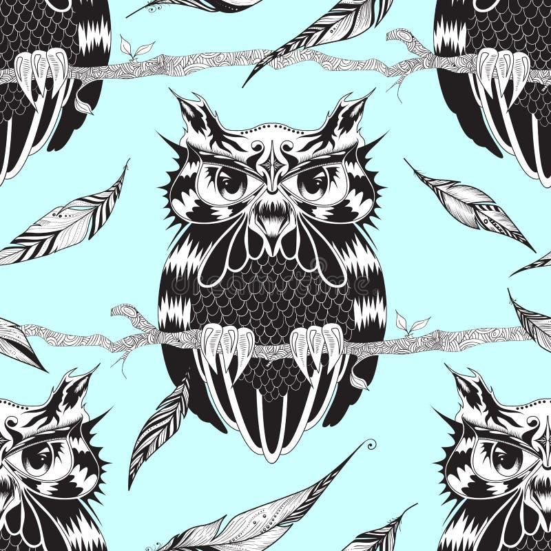 Sömlös modell med ugglan och fjädrar Textur för tapeter, vektor illustrationer