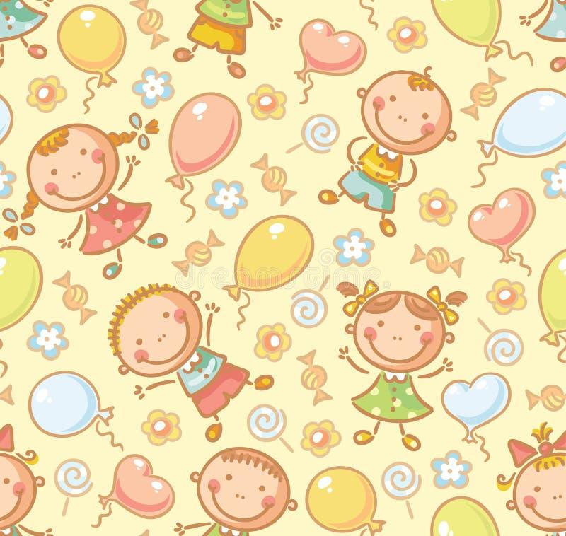 Sömlös modell med ungar och ballonger stock illustrationer