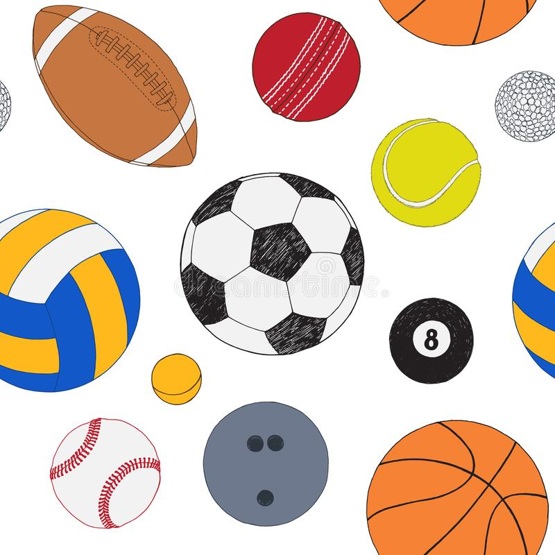 Sömlös modell med uppsättningen av sportbollar Handen drog färgade vektorn skissar Vit bakgrund Bland annat modell stock illustrationer