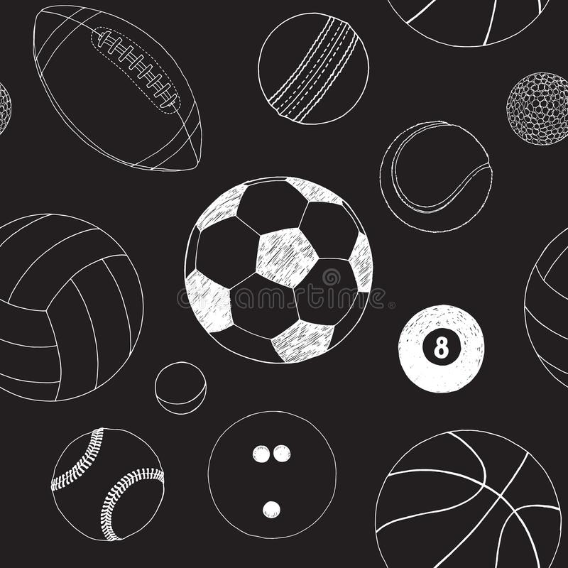 Sömlös modell med uppsättningen av sportbollar Handen drog vektorn skissar Vita sportobjekt på svart bakgrund modell royaltyfri illustrationer