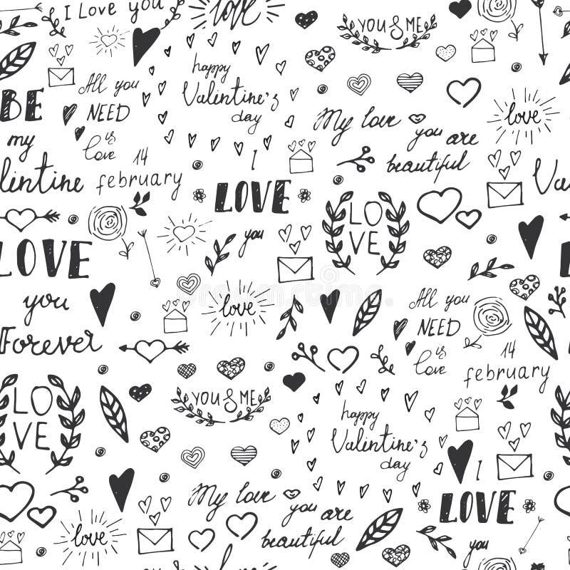 Sömlös modell med utdragna designbeståndsdelar för valentin dag stock illustrationer