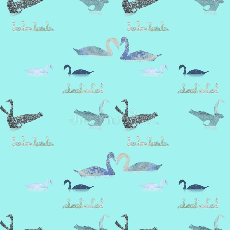 Sömlös modell med utdragna svanar för hand stock illustrationer