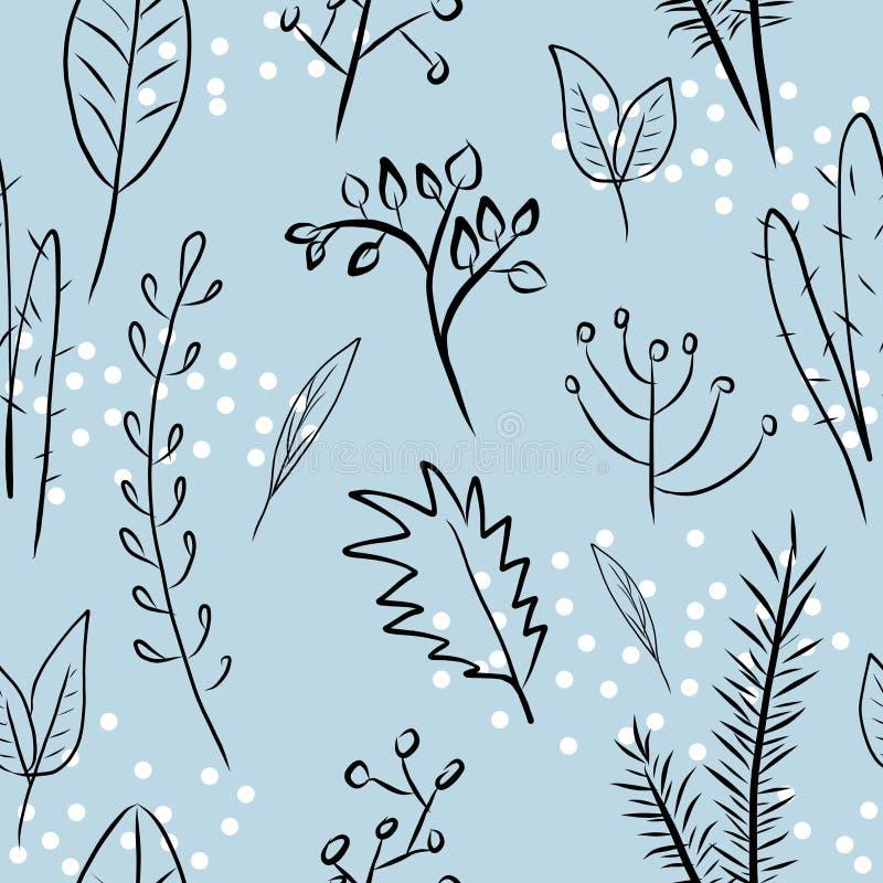 Sömlös modell med växter, filialer, sidor på blå bakgrund med vita prickar, botanisk digital teckning stock illustrationer