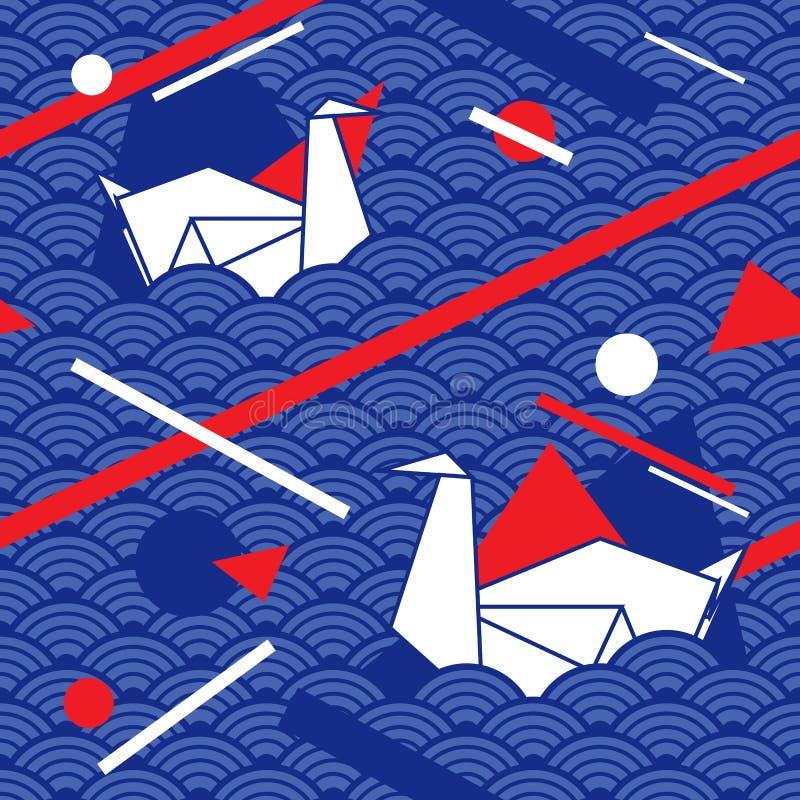 Sömlös modell med vågen, linjer och origamisvanen Tygtryck Stämpel med ett nautiskt tema Modern traditionell japansk stil royaltyfri illustrationer