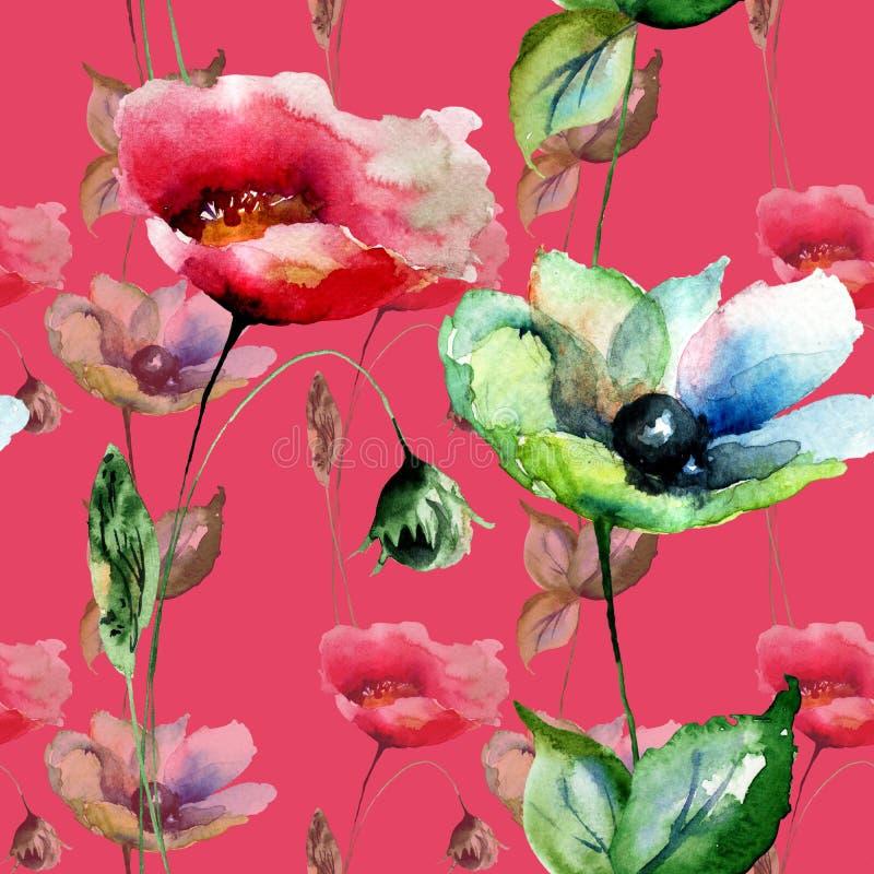 Sömlös modell med vallmo- och Gerber blommor royaltyfri illustrationer