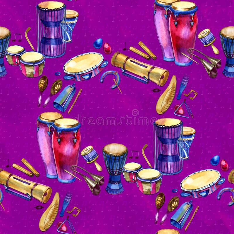 Sömlös modell med valsar och slagverk i vattenfärgstil och dekorativa geometriska beståndsdelar på purpurfärgade rosa färger royaltyfri illustrationer