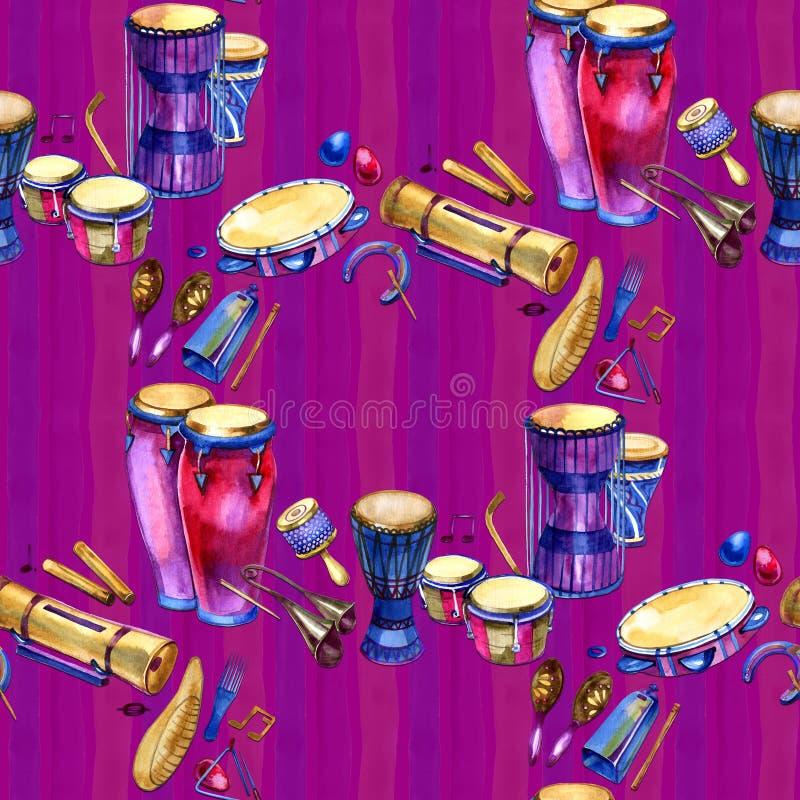 Sömlös modell med valsar och slagverk i vattenfärgstil och dekorativa geometriska beståndsdelar på purpurfärgade rosa färger stock illustrationer