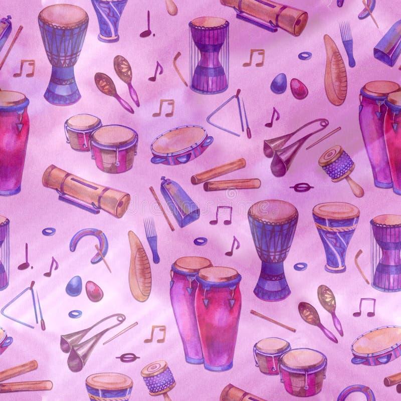 Sömlös modell med valsar och slagverk i vattenfärgstil och dekorativa geometriska beståndsdelar på purpurfärgade rosa färger vektor illustrationer