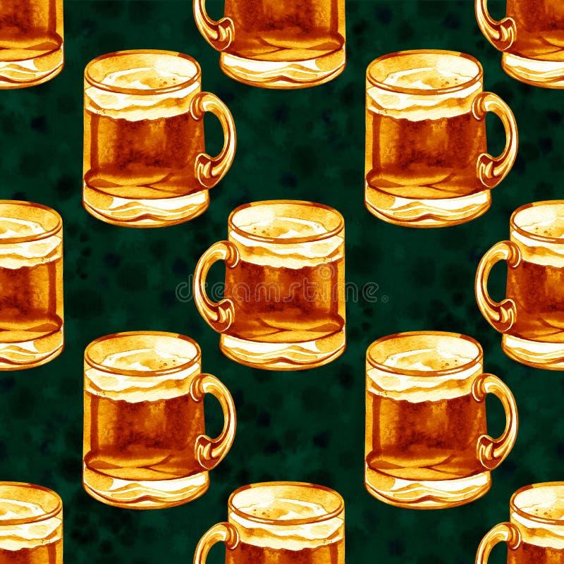 Sömlös modell med vattenfärgöl Alkoholdrinkar smyckar Oktoberfest Sts Patrick dagmall stock illustrationer