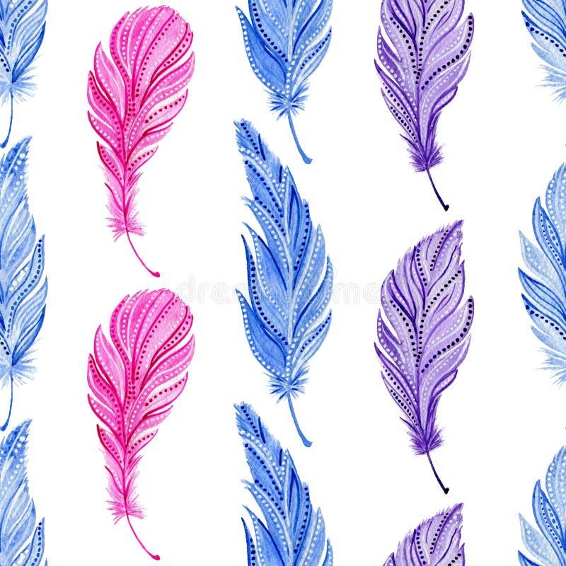 Sömlös modell med vattenfärgblått, rosa purpurfärgade fjädrar Boho stil stock illustrationer