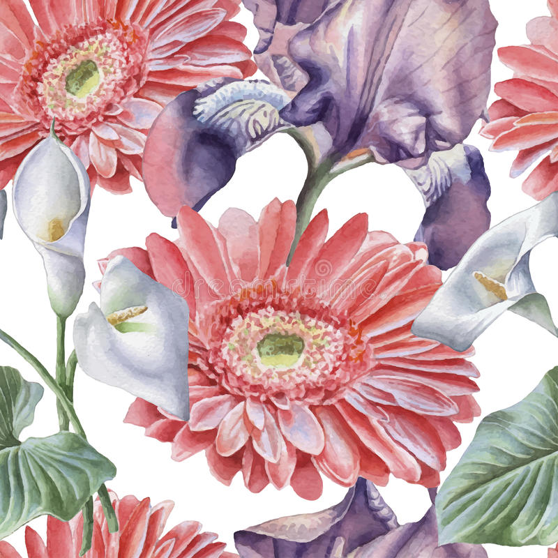 Sömlös modell med vattenfärgblommor iris Gerbera calla royaltyfri illustrationer