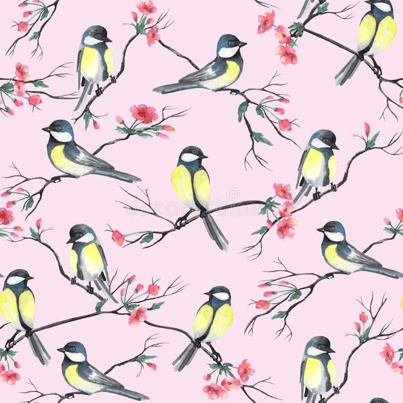 Sömlös modell med vattenfärgfåglar som sitter på filialer med blommor vektor illustrationer