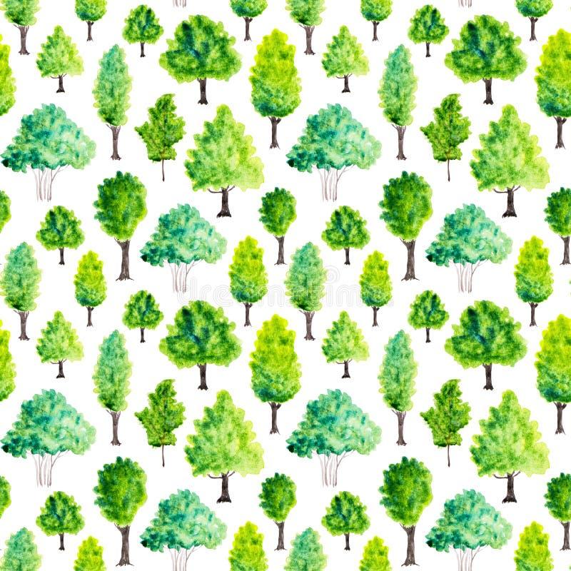 Sömlös modell med vattenfärggräsplanträd mot bakgrund field blåa oklarheter för grön vitt wispy natursky för gräs stock illustrationer