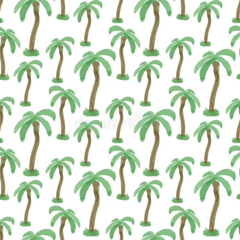 Sömlös modell med vattenfärgpalmträd Ändlös tryckvektortextur Tropisk bakgrund för lopp stock illustrationer