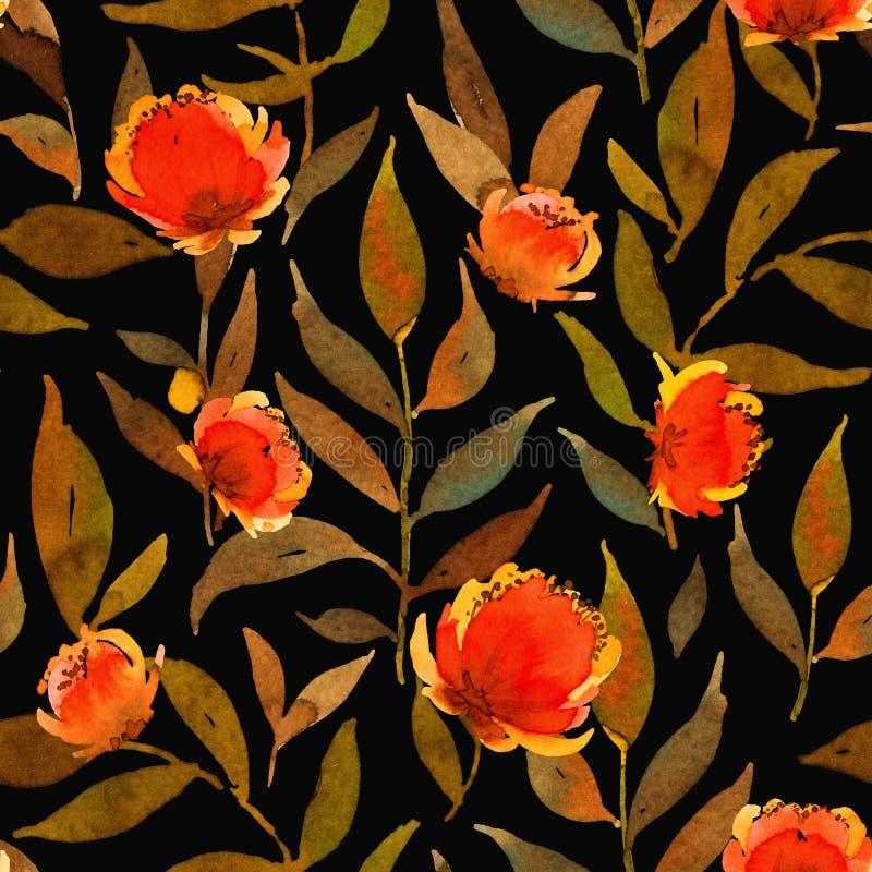 Sömlös modell med vattenfärgsenapsidor och röda blommor vektor illustrationer