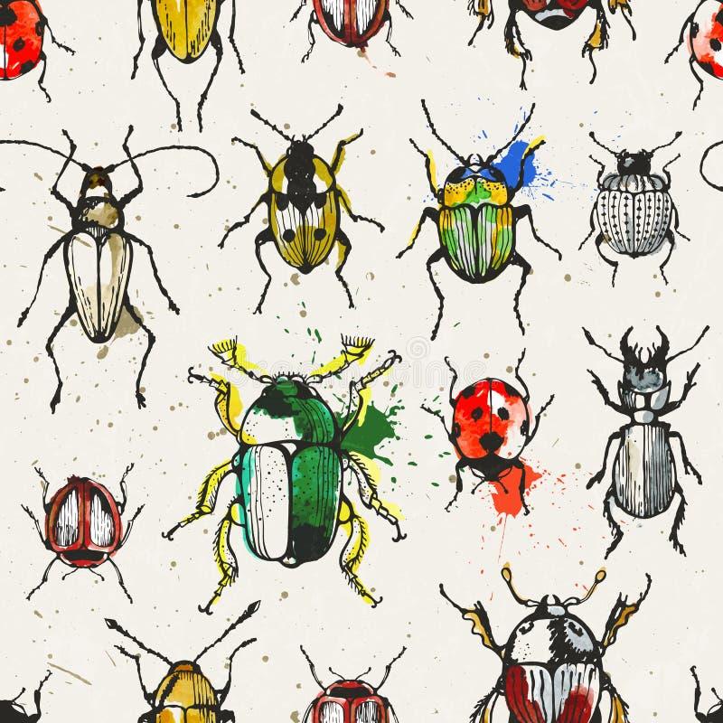 Sömlös modell med vattenfärgskalbaggar vektor illustrationer