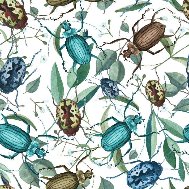 Sömlös modell med vattenfärgskalbaggar, filialer och blommor stock illustrationer