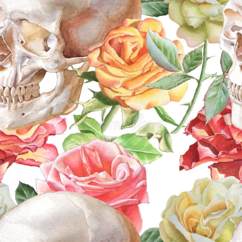 Sömlös modell med vattenfärgskallen och rosor stock illustrationer
