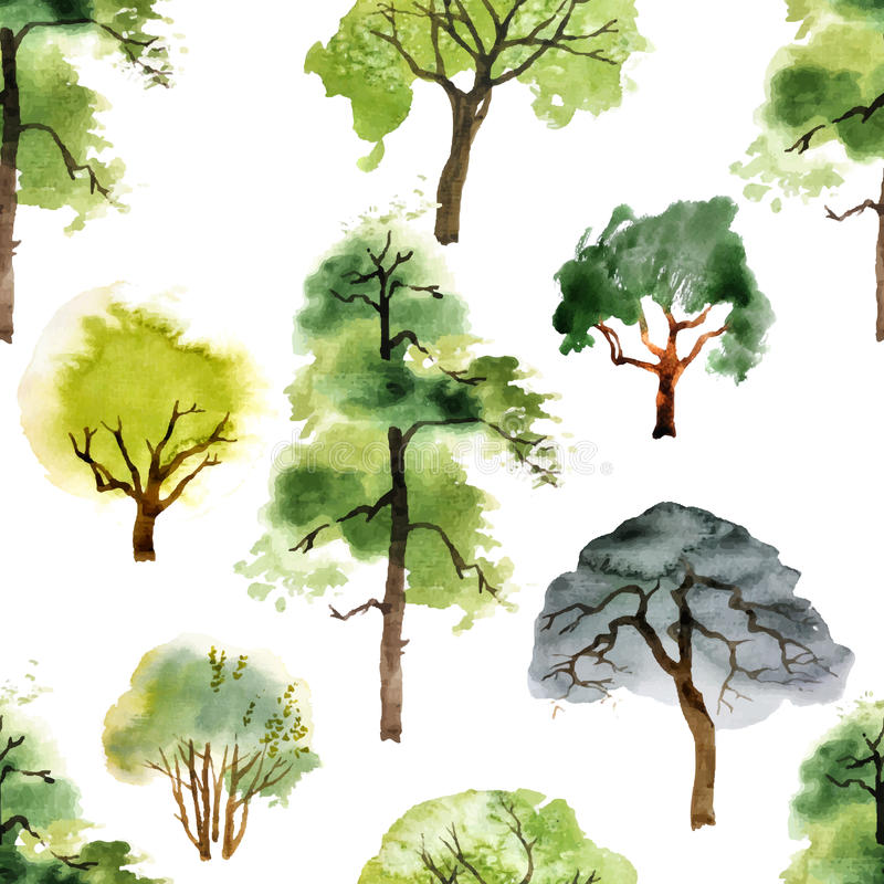 Sömlös modell med vattenfärgträd stock illustrationer