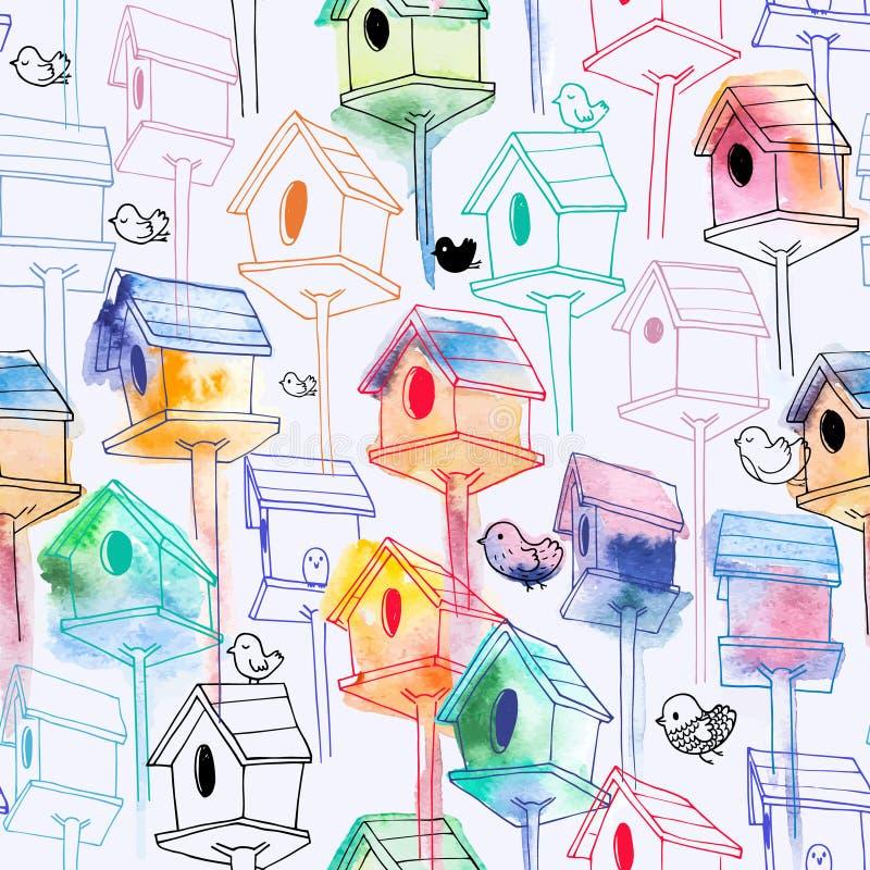 Sömlös modell med vattenfärgvoljären på vit bakgrund Hand-drog fågelhus i linjen stil med vattenfärgen royaltyfri illustrationer