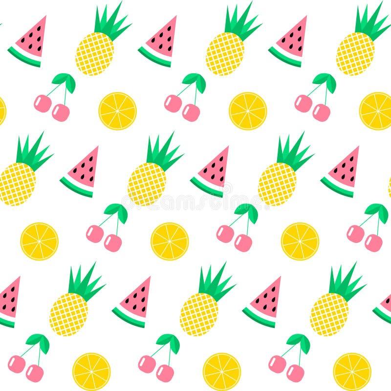 Sömlös modell med vattenmelon, ananas, körsbäret och apelsinen på vit bakgrund gullig bakgrund Ljus sommar bär frukt I royaltyfri illustrationer