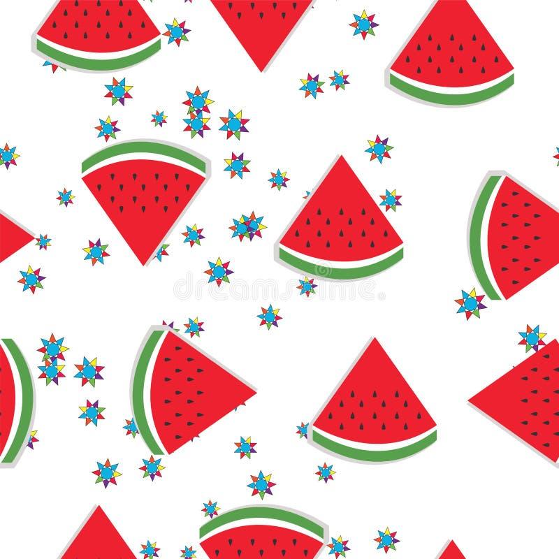 Sömlös modell med vattenmelonskivavektorn - sommartema royaltyfri illustrationer