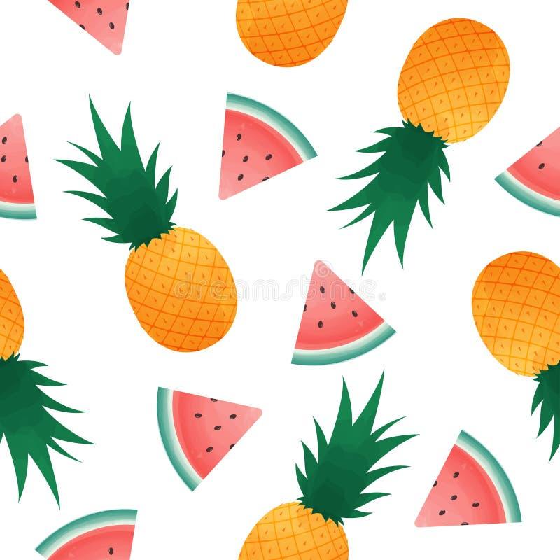 Sömlös modell med vattenmelonskivor och ananas Bakgrund för ny frukt för sommar royaltyfri illustrationer