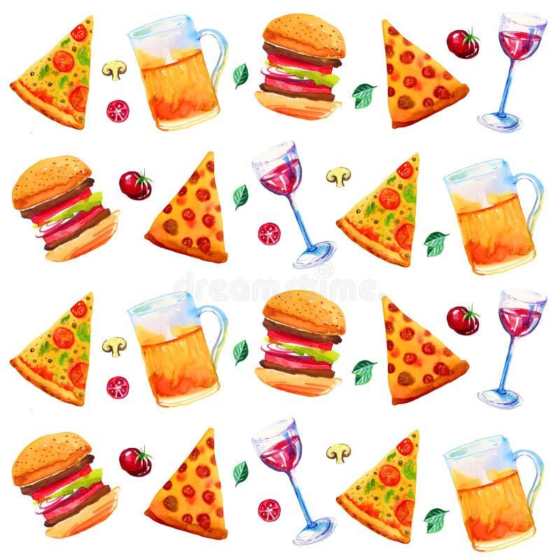 Sömlös modell med vin, öl, blandad pizza och grönsaker Hand dragen vattenfärgillustration vektor illustrationer