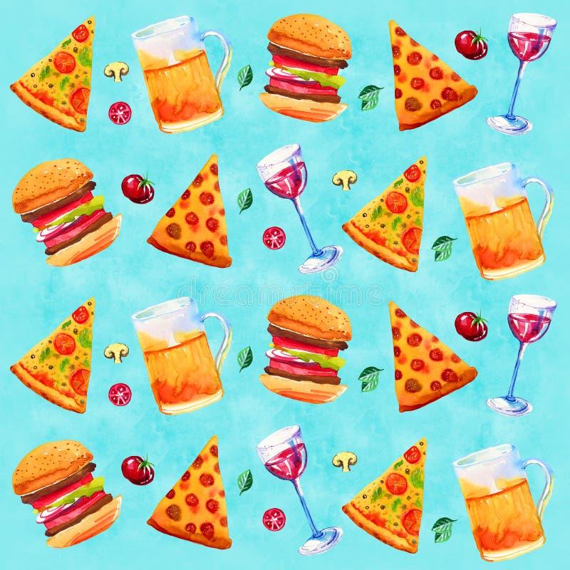 Sömlös modell med vin, öl, blandad pizza och grönsaker Hand dragen vattenfärgillustration på blå bakgrund vektor illustrationer