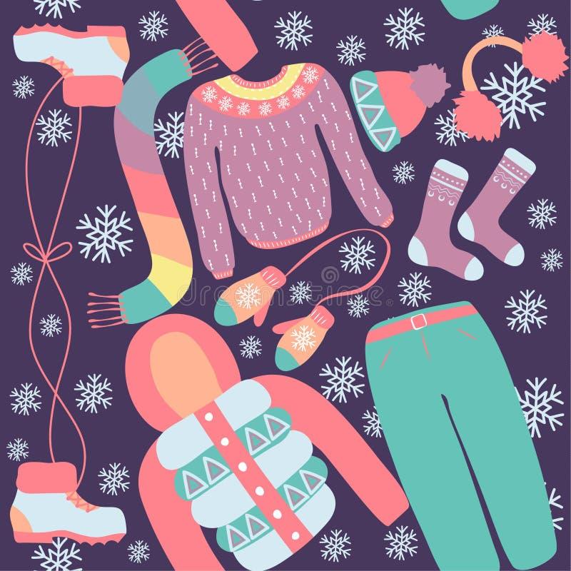 Sömlös modell med vinterkläder Varma woollies Kläder för kallt väder stock illustrationer