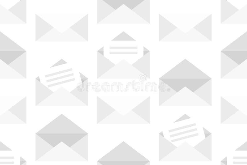 Sömlös modell med vita kuvert vektor illustrationer