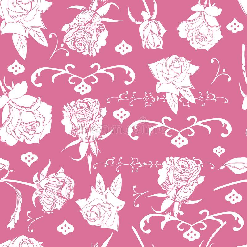 Sömlös modell med vita rosa blommor med sidor och piruetter på rosa bakgrund Den tecknade handen skissar stock illustrationer